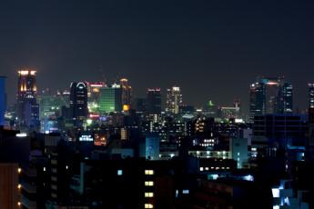 Osaka - Shin-Osaka YH : View of Landscape Surrounding Osaka - Shin-Osaka Youth Hostel, Japan at Night
