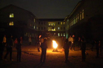 Osaka - Osaka International YH : Making a Fire Outside of Osaka - Osaka International Youth Hostel, Japan at Night