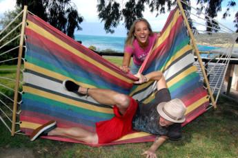 Kangaroo Island - Kangaroo Island YHA : Hammock overlooking bay in the Kangaroo Island hostel in Australia