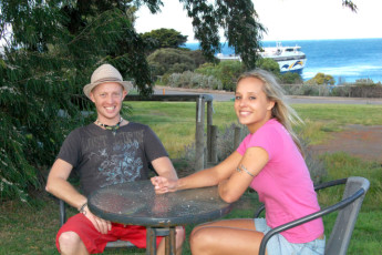 Kangaroo Island - Kangaroo Island YHA : Guests overlooking ferry terminal near the Kangaroo Island hostel in Australia