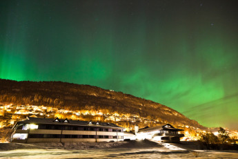 Voss : View of Northern Lights Above Voss Hostel, Norway