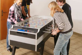 St. Gilgen : Guests playing table football at the St Gilgen Hostel in Austria