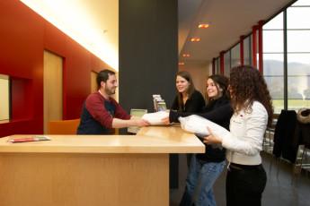 Echternach : Reception Desk in Echternach Hostel, Luxembourg