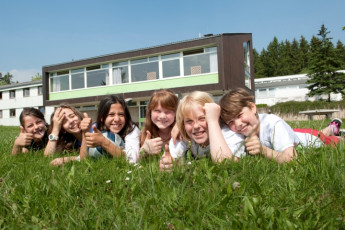 Silberborn : Children Relaxing in the Garden at Silberborn Hostel, Germany