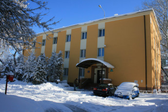 Warsaw - Karolkowa : Front Exterior View of Warsaw - Karolkowa Hostel, Poland During the Snow