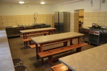 Warsaw - Karolkowa : Kitchen and Dining Area in Warsaw - Karolkowa Hostel, Poland