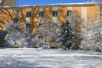 Warsaw - Karolkowa : Exterior View of Warsaw - Karolkowa Hostel, Poland During the Snow