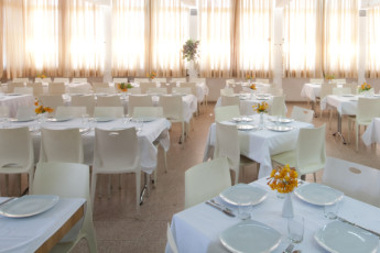 Tel - Hai : Dining room in the Tel - Hai hostel in Israel