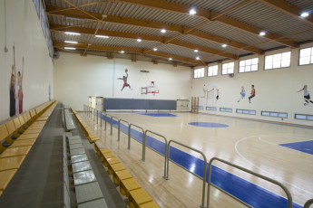 Tel - Hai : Basketball court at the Tel - Hai hostel in Israel