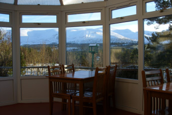 Cairngorm Lodge SYHA : View of Landscape from Dining Room in Cairngorm Lodge SYHA, Scotland
