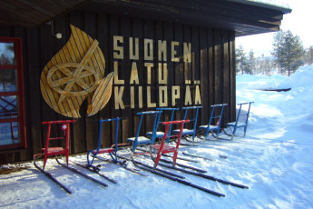 Saariselkä - Hostel Ahopää : Free sledges for use at the Inari/Kiilopaa - Hostel Ahopaa in Finland