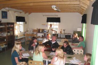 Gaulverjaskóli : Kitchen, Dining and Entertainment Area at Gaulverjaskoli Hostel, Iceland Sign