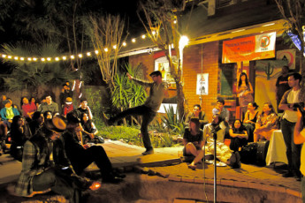 HI - Phoenix - The Metcalf House : Evening Entertainment in the Garden at Phoenix - The Metcalf House Hostel, USA
