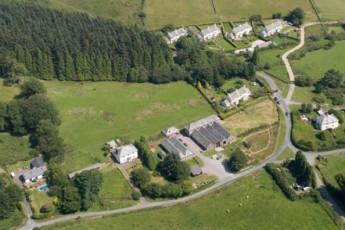 YHA Dartmoor : Aerial view over the YHA Dartmoor hostel in England