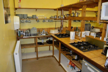 YHA Exford : Kitchen in the YHA Exford hostel in England
