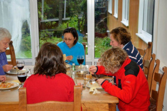 YHA Exford : Guests in Dining room in the YHA Exford hostel in England