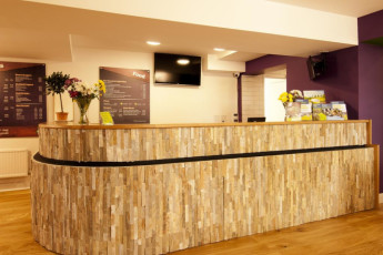 YHA York : Reception Desk in York Hostel, England
