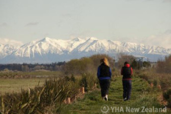 YHA Christchurch Rolleston House : Guests walking near the Christchurch, Rolleston House Hostel in New Zealand