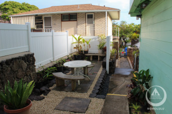 HI-Honolulu : Patio area at the HI-Honolulu hostel in the USA