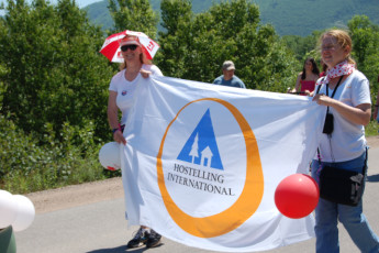 HI - Cabot Trail : Staff at the Canada day parade near the HI - Cabot Trail hostel in Canada