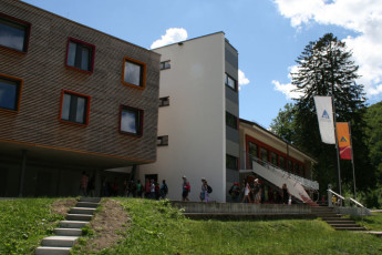 Bad Urach : Front exterior view of Bad Urach Hostel, Germany