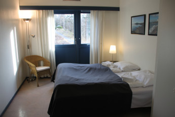 Froland : Private double room with terrace in Froland hostel in Norway