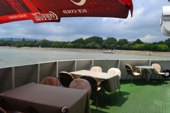 Budapest - Fortuna Boat : Terrace at Budapest - Fortuna Boat Hostel, Hungary