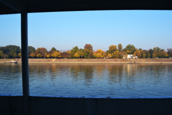 Budapest - Fortuna Boat : View of Landscape from Restaurant in Budapest - Fortuna Boat Hostel, Hungary