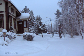 Uvdal : Exterior in snow of the Uvdal hostel in Norway