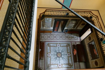 Marseille - Chateau du Bois-Luzy : Interior stairs in the Chateau of the Bois Luzy hostel in France