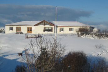 Berg : Exterior View of Berg Hostel, Iceland During the Snow