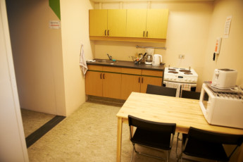 Borgarnes : Kitchen Area in Borgarnes Hostel, Iceland