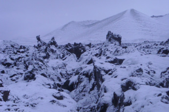 Grundarfjörður : paisaje en Grundarfjorour Hostel, Islandia Durante la nieve
