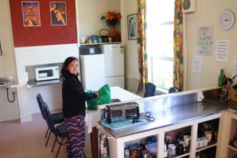 YHA Oamaru : Kitchen and Dining Area in Oamaru Hostel, New Zealand