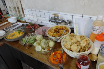 Yuasa - Arida Orange YH : Food at the Arida Orange hostel in Japan