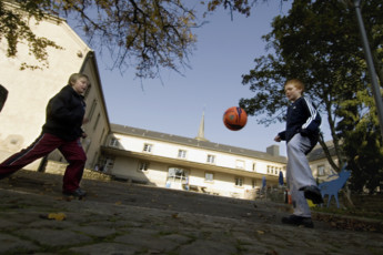 Hollenfels : Children Playing Outside Hollenfels Hostel, Luxembourg