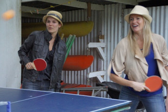 YHA Opoutere : Guests Playing Table Tennis at Opoutere Hostel, New Zealand