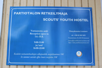 Joensuu - Scouts' Youth Hostel : Sign outside the Scouts Youth Hostel in Finland