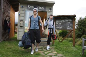 YHA Raglan : Reception at Raglan YHA - Solscape Eco Retreat Hostel, New Zealand