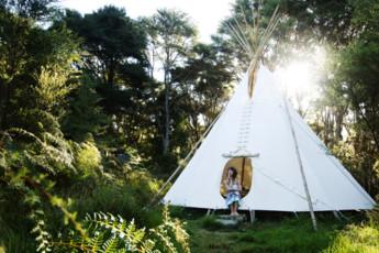 YHA Raglan : Exterior View of Tent at Raglan YHA - Solscape Eco Retreat Hostel, New Zealand