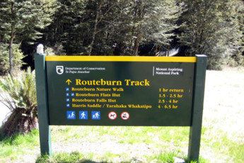 YHA Kinloch - Glenorchy : Routeburn Track Sign Local to Kinloch Lodge Hostel, New Zealand