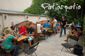 Bratislava - Hostel Patio : Guests Relaxing on the Patio at Bratislava - Hostel Patio, Slovakia