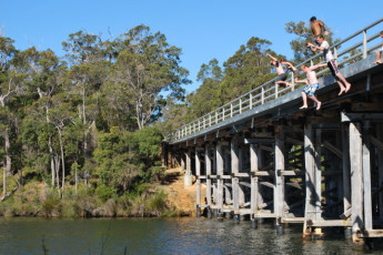 Augusta YHA : Guests Jumping into the Blackwood River near Augusta Hostel, Australia