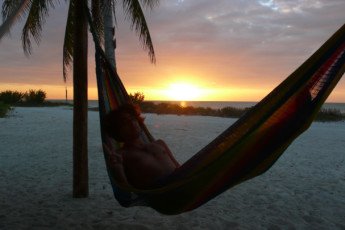 Hostel & Cabañas Ida y Vuelta Camping : Guest Relaxing on Hammock at Beach Local to Hostel and Cabanas Ida y Vuelta Camping, Mexico