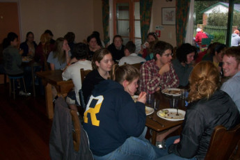 YHA-Springfield : Guests in dining room at the Springfield Hostel, New Zealand During the Snow