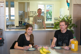 YHA Napier : People dining in Kitchen of Napier YHA hostel in New Zealand