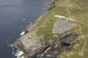 YHA Tintagel : Aerial view over exterior of the YHA Tintagel hostel in England
