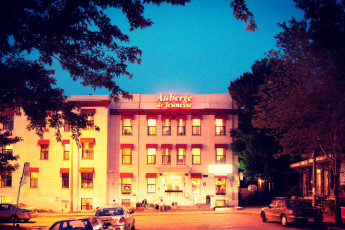 HI - Montreal : Front Exterior View of Montreal Hostel, Canada in the Evening
