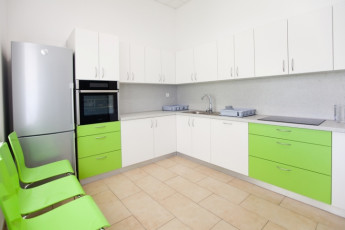 Youth Hostel Slovenj Gradec : 092575, Youth Hostel Slovenj Gradec, kitchen with green draws image