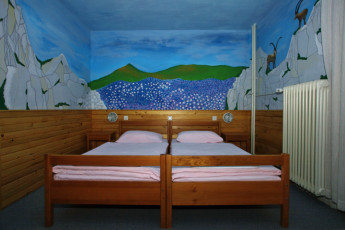 Youth Hostel Pod Voglom : 092542, Hostel pod Voglom, twin beds with murel Image